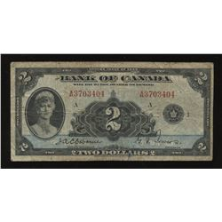 Bank of Canada $2 1935 English