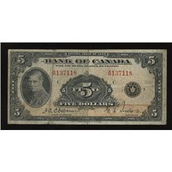 Bank of Canada $5 1935 English