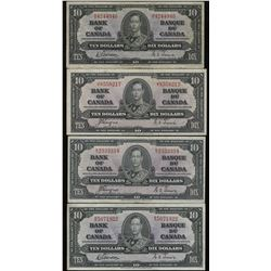 Bank of Canada $10, 1937 - Lot of 4 Banknotes