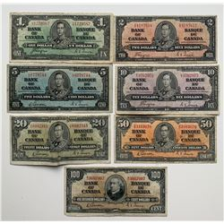 Bank of Canada 1937 $1-$100 Collection LOT