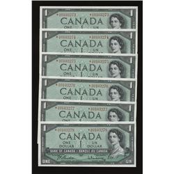 Bank of Canada $1, 1954 *A/A Replacement Lot of 6 Notes