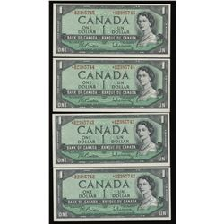 Bank of Canada $1, 1954 *B/M Replacement Lot of 4 Notes