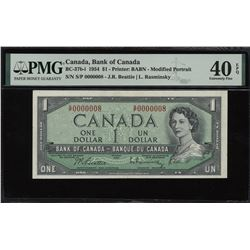 Bank of Canada $1, 1954 - Low Serial Number #8