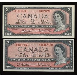 Bank of Canada $2, 1954 - Lot of 2 Replacement Notes