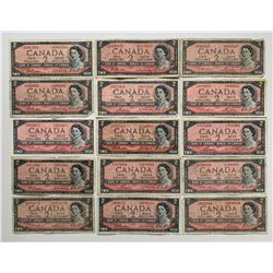 Bank of Canada $2 1954 Assorted Lot of 15 Notes