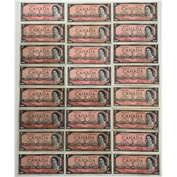 Bank of Canada $2, 1954 Assorted Lot of 54 Notes
