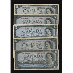 Bank of Canada $5 1954 Assorted Lot of 5 Notes