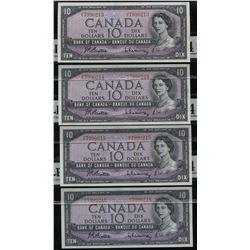 Bank of Canada $10, 1954 - Lot of 4 Consecutive Notes