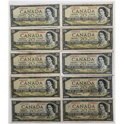 Bank of Canada $20 1954 Assorted Lot of 10 Notes