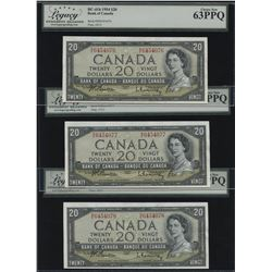 Bank of Canada $20, 1954 Offset Signature Errors