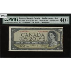 Bank of Canada $20, 1954 Replacement Off-Cut Error Note