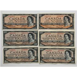 Bank of Canada $50 & $100 1954 Assorted Lot of 6 Notes