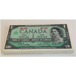 Bank of Canada $1, 1967 - Lot of 56 Notes