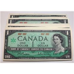 Bank of Canada $1, 1967 - Lot of 89 Notes