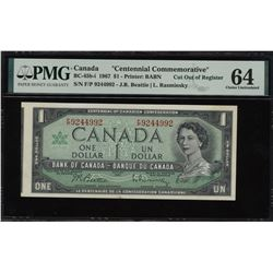 Bank of Canada $1, 1967 - Cut out of Register Error