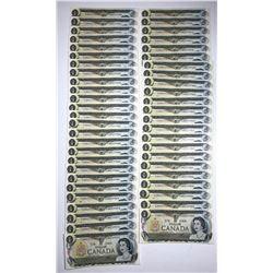 Bank of Canada $1, 1973 - EAN Transition Prefix Lot of 49 Consecutive