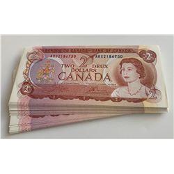 Bank of Canada $2 1974 - Original 50 Note Bundle