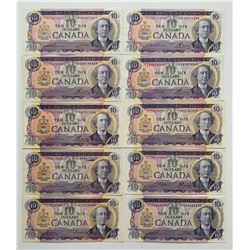 Bank of Canada $10, 1971 - Assortment of 10 Notes
