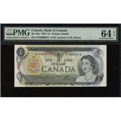 Bank of Canada $1, 1973 Low Serial Number