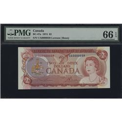 Bank of Canada $2, 1974 Low Serial Number