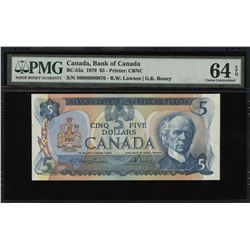 Bank of Canada $5, 1979 Low Serial Number