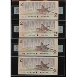 """Bank of Canada - Set of four $2 1986 """"X"""" Replacement Notes"""