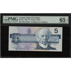Bank of Canada $5, 1986 Binary-Radar-Rotator Note