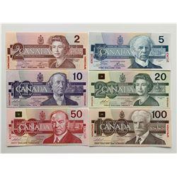 Bank of Canada $2 - $100 Specimen Set S/N:0467