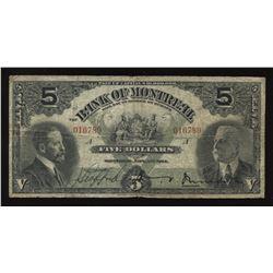 Bank of Montreal $5, 1914