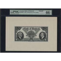 Bank of Montreal $5, 1935 Front Proof
