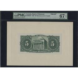 Bank of Montreal $5, 1935 Back Proof