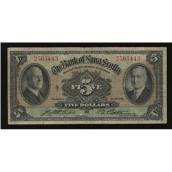 The Bank of Nova Scotia $5, 1935