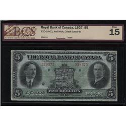 The Royal Bank of Canada $5, 1927