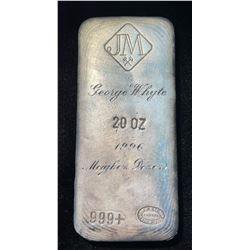 Vintage Johnson Matthey 20oz Fine Silver 999+ Poured Load Bar