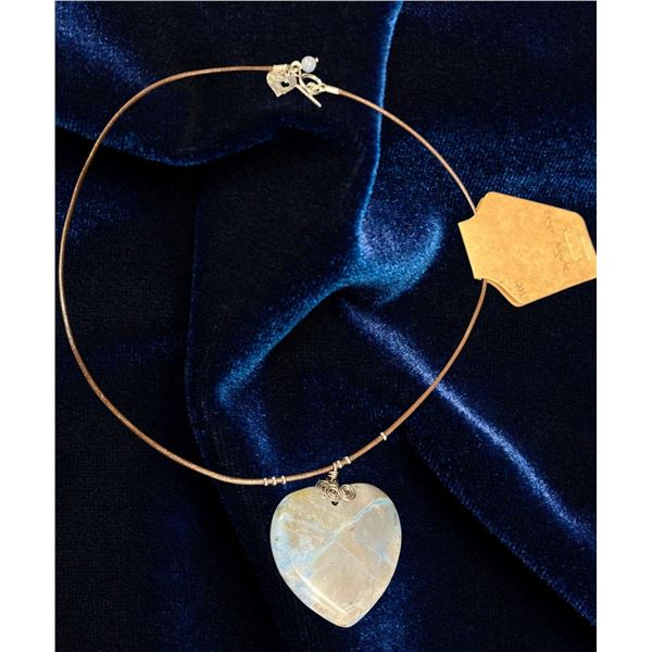 Onyx Agate Heart Pendant Necklace