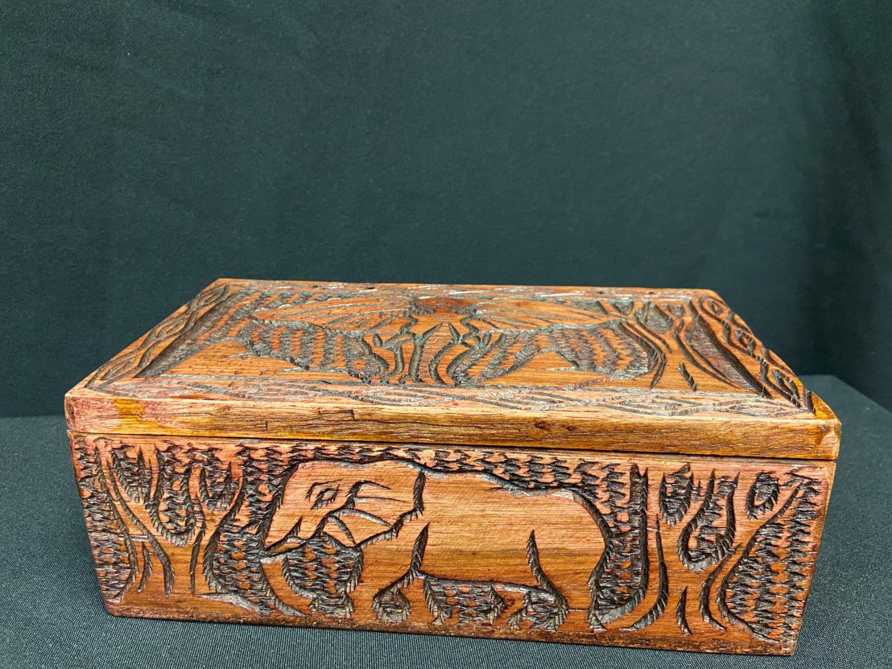 Handcarved Wooden Trinket/Treasure Box