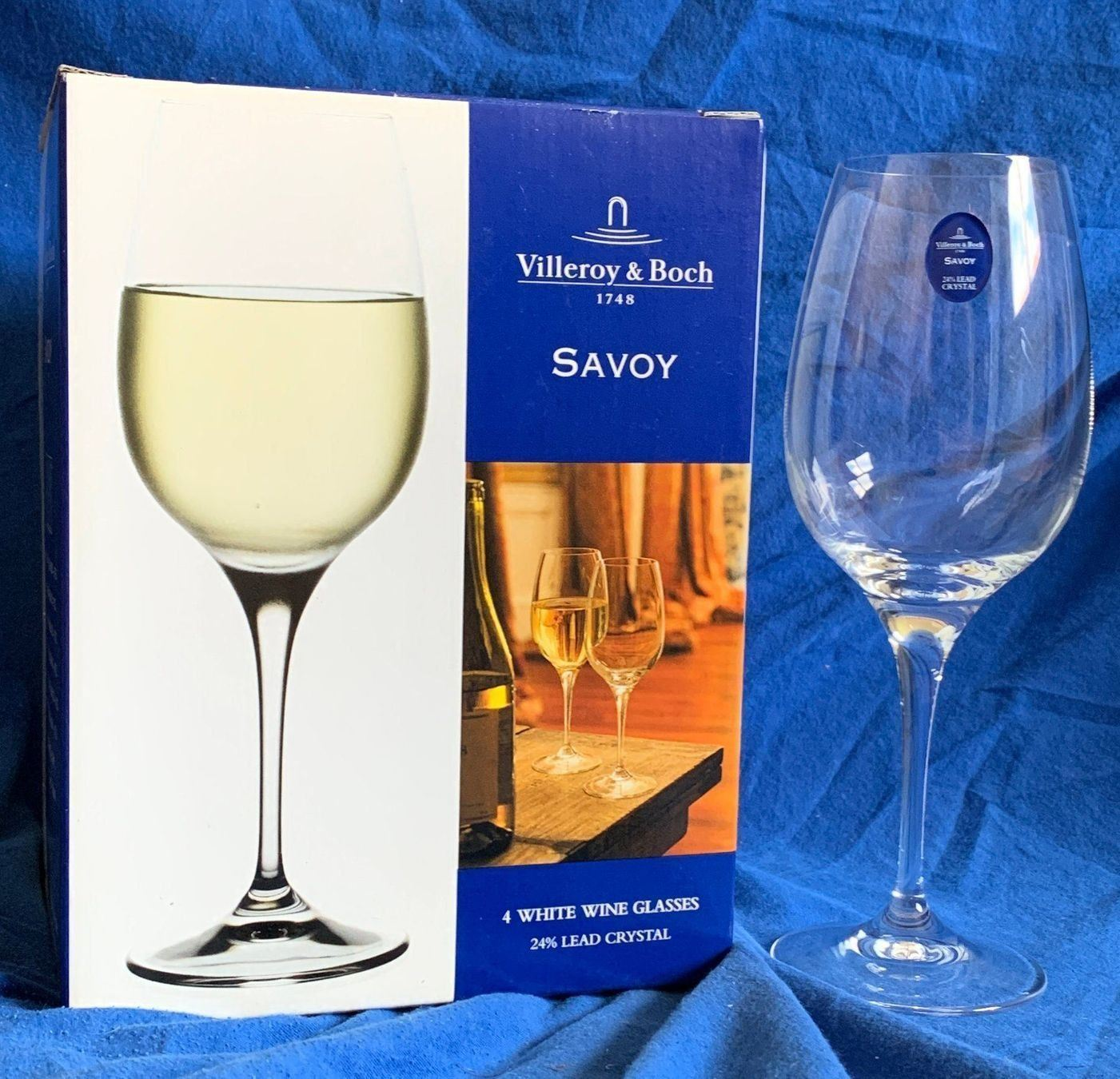 Villeroy & Boch  Savoy   White Wine Crystal Glasses - Set of 4