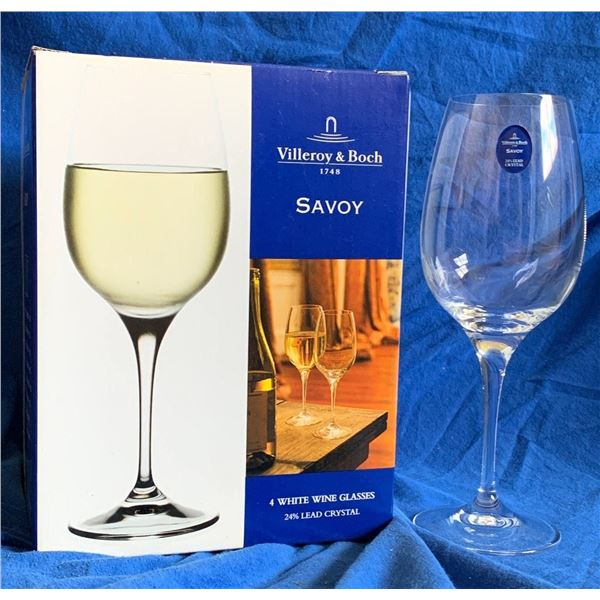 "Villeroy & Boch ""Savoy""  White Wine Crystal Glasses - Set of 4"