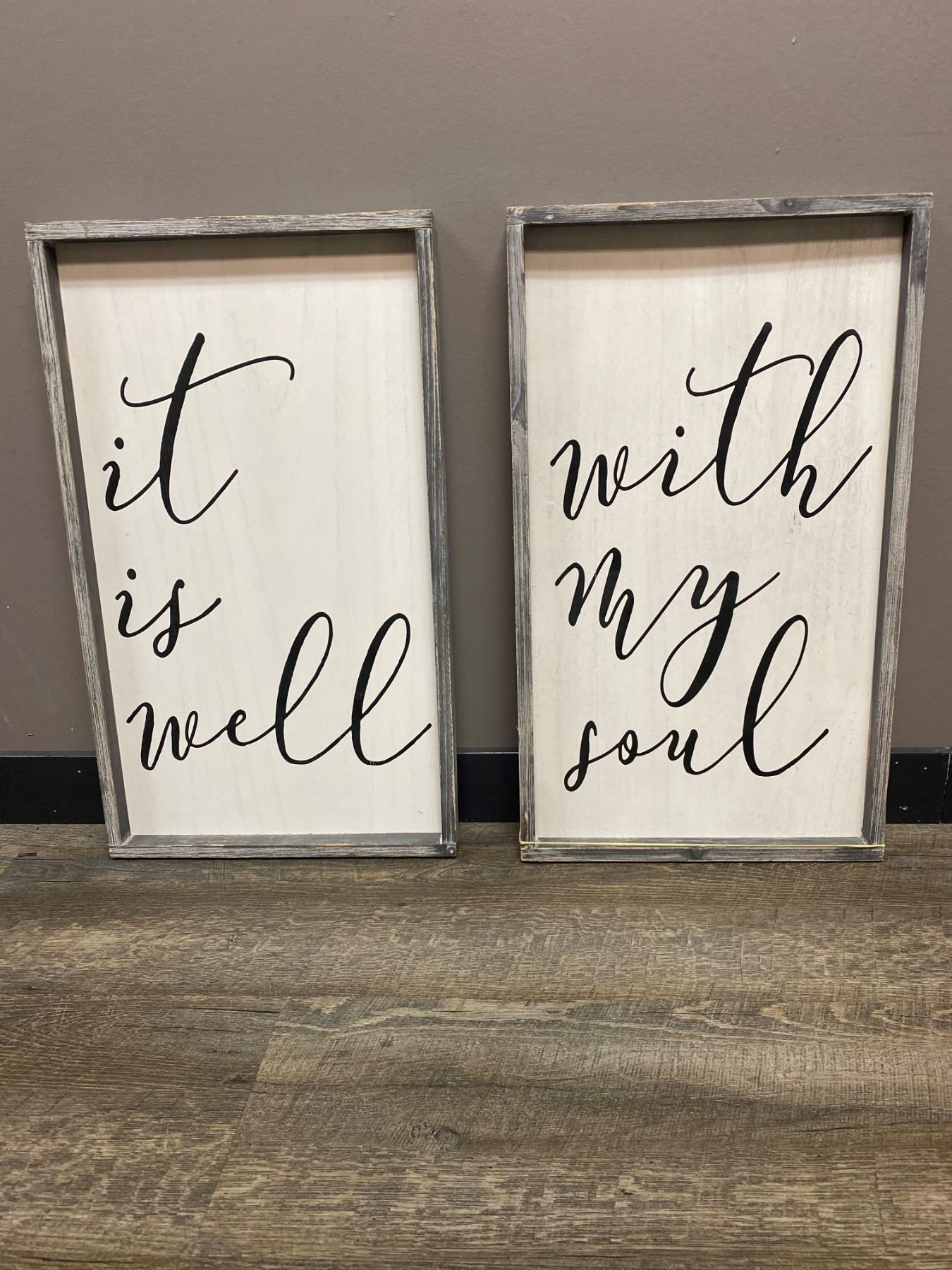 Inspirational Distressed Frame Wall Art - All Is Well With My Soul