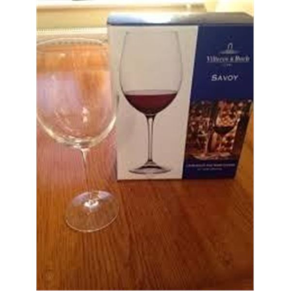"Villeroy & Boch ""Savoy""  Bordeaux Red Wine Glasses - Crystal - Set of 2"