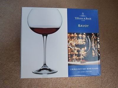 Villeroy & Boch  Savoy  Crystal Burgundy Red Wine Glasses - Set of 2