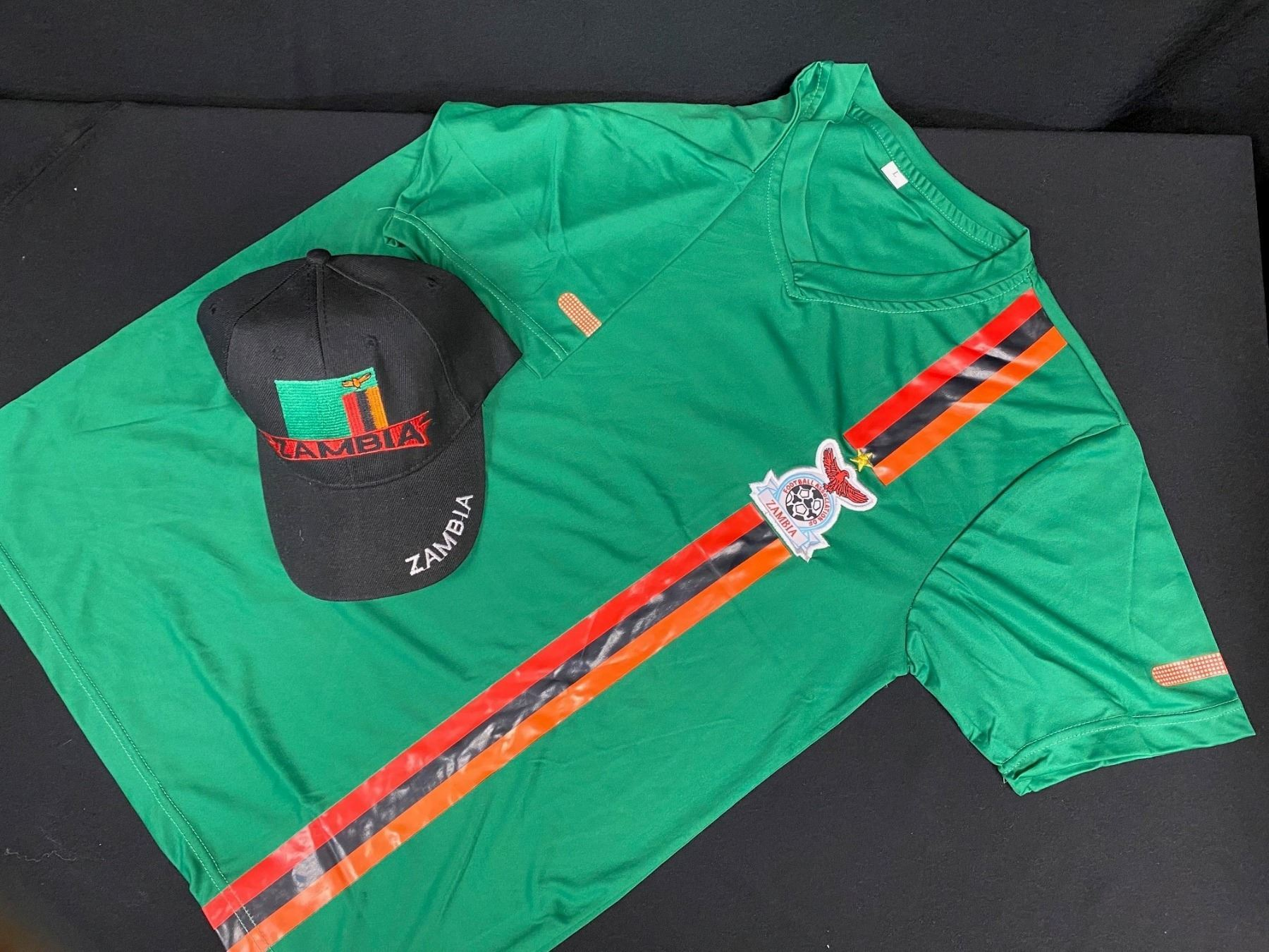 Youth L Zambia Soccer Shirt & Baseball Cap