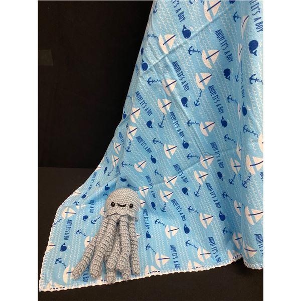 It's A Boy - Receiving Blanket & JellyFish Rattle