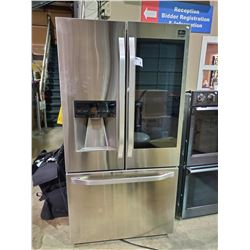 LG STUDIO STAINLESS STEEL FRENCH DOOR FRIDGE WITH ROLL OUT FREEZER AND GLASS PANEL
