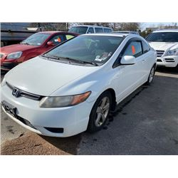2008 HONDA CIVIC, 2DR COUPE, WHITE, VIN # 2HGFG12688H001760