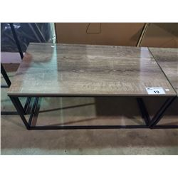 "LIGHT RUSTED BROWN INDUSTRIAL LOOK COFFEE TABLE (35""W 20""D X 16""H)"