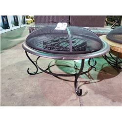 BLACK OUTDOOR METAL FIRE PIT /W GEL INSERT