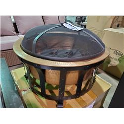 COPPER & BLACK FINISH OUTDOOR FIRE PIT /W GEL INSERT