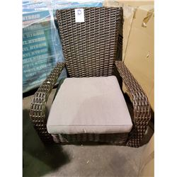*BOXED* BROWN WICKER COMFORT MUSKOKA CHAIR /W BEIGE FABRIC