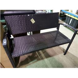 "*BOXED* BLACK JACKIE KD WICKER BENCH (48""W)"